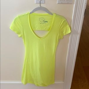 Blue Life S neon yellow t shirt dress open back